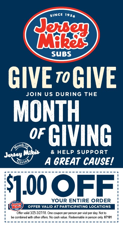 image regarding Jersey Mikes Printable Coupons named Choose Section within just Jersey Mikes Subs Thirty day period of Offering Benefiting