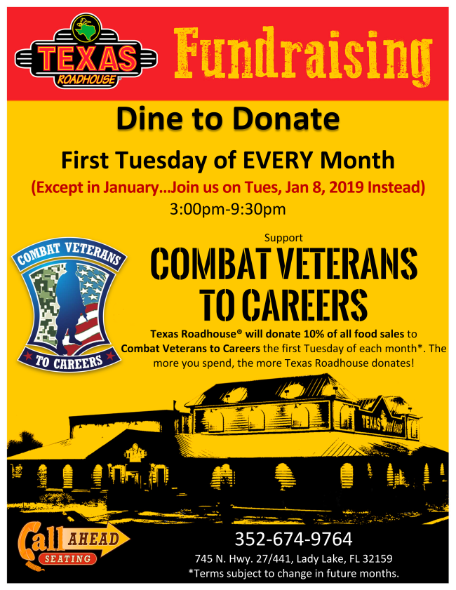 January Dine to Donate at Texas Roadhouse Moved to Tuesday, January 8th