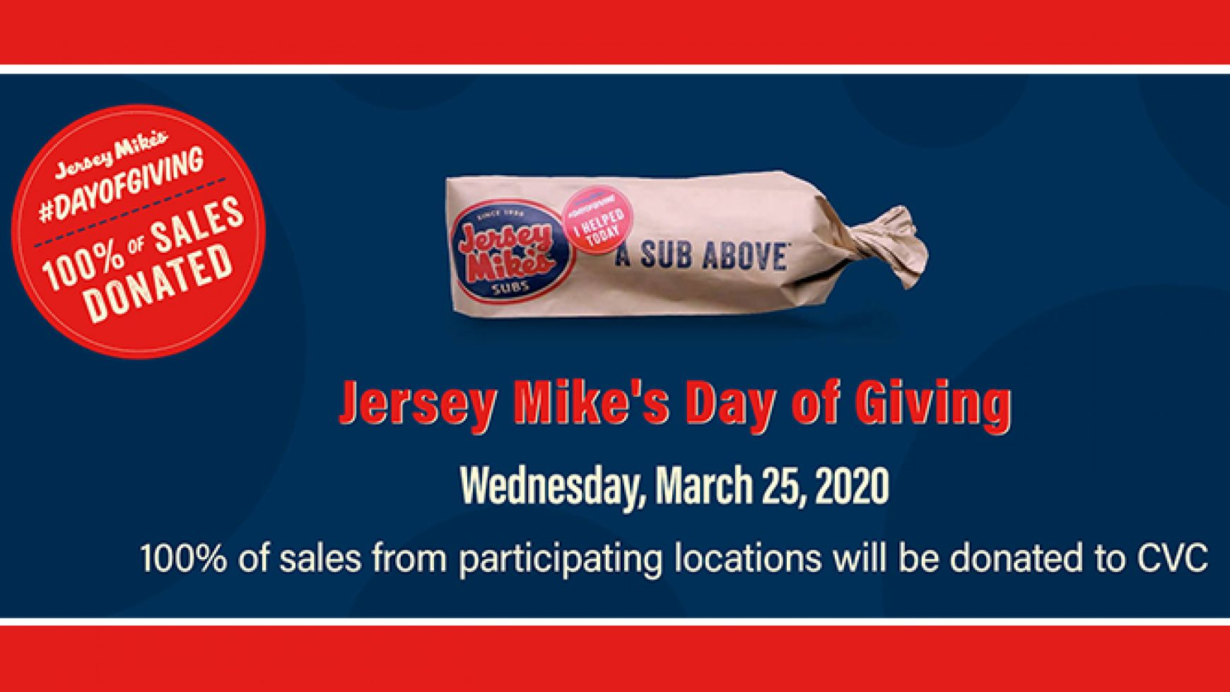 Eat at Jersey Mike's Subs & Help Support CVC this March!