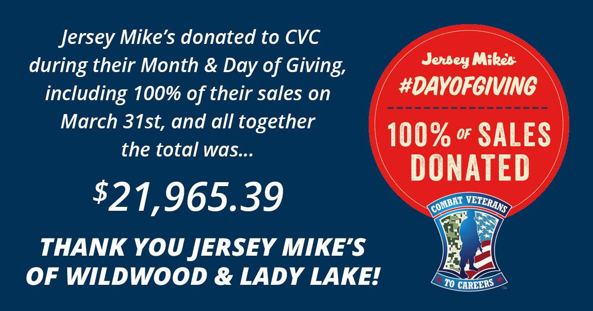Jersey Mike's donates $21,965.39 to CVC via Month of Giving